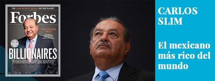 Carlos Slim es el sexto hombre más rico del mundo, con una fortuna de 54.500 millones de dólares. También se le ha catalogado como el octavo filántropo del planeta, con más de 4.000 millones de dólares donados a lo largo de su vida.